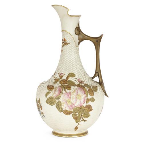 Royal Worcester Japonisme style porcelain ewer