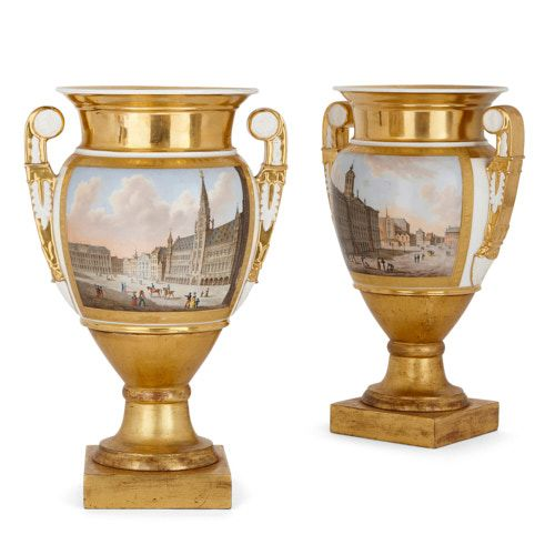 Paris porcelain vases with scenes of Amsterdam and Brussels