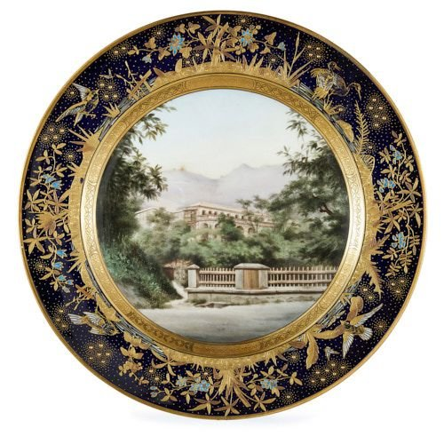 Viennese Chinoiserie porcelain cabinet plate depicting Hong Kong