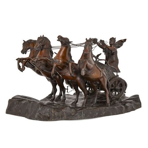 Patinated bronze group of a horse drawn chariot by Campaiola