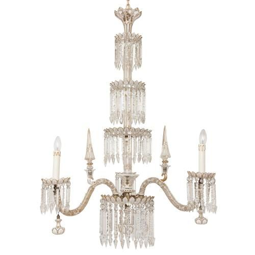 Antique Bohemian cut glass and gilt gasolier chandelier