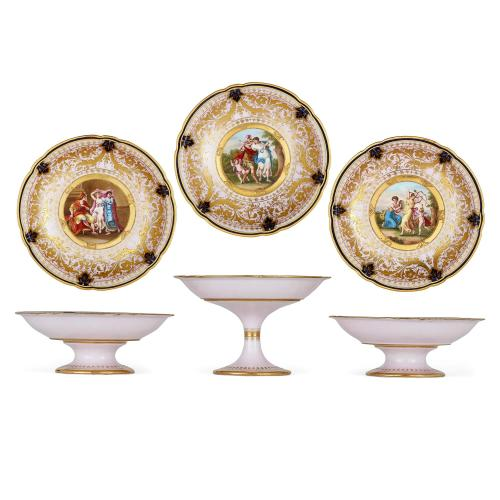 Set of three Neoclassical style Royal Vienna porcelain tazze