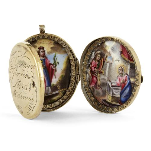 Russian silver-gilt and enamel triptych locket