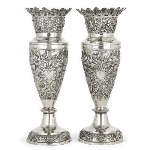 Pair of Persian Qajar period Shiraz silver vases