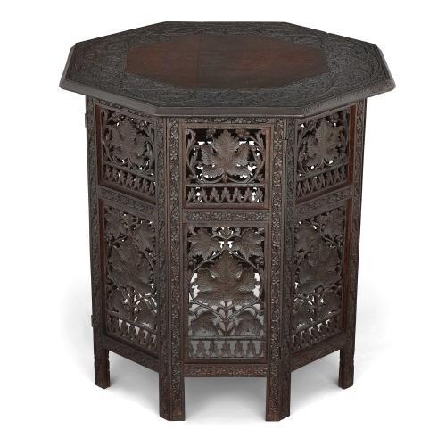 Antique Indian Kashmiri hardwood side table