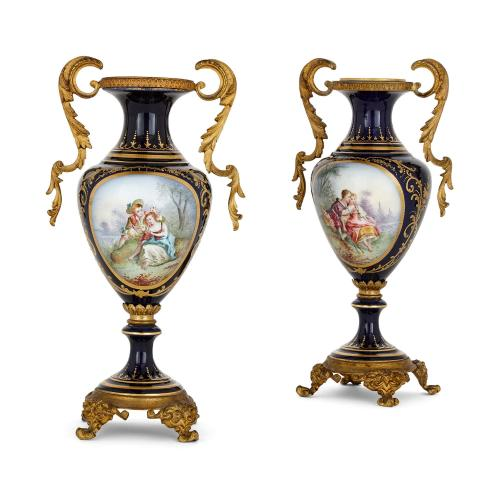 Pair of gilt metal mounted Sèvres style porcelain vases