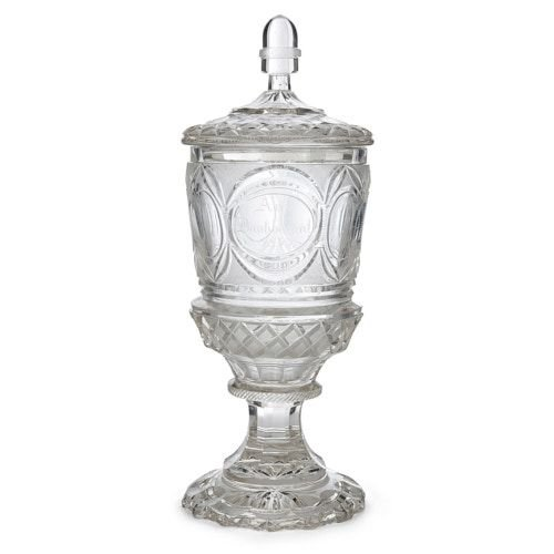Large engraved Bohemian glass goblet and cover