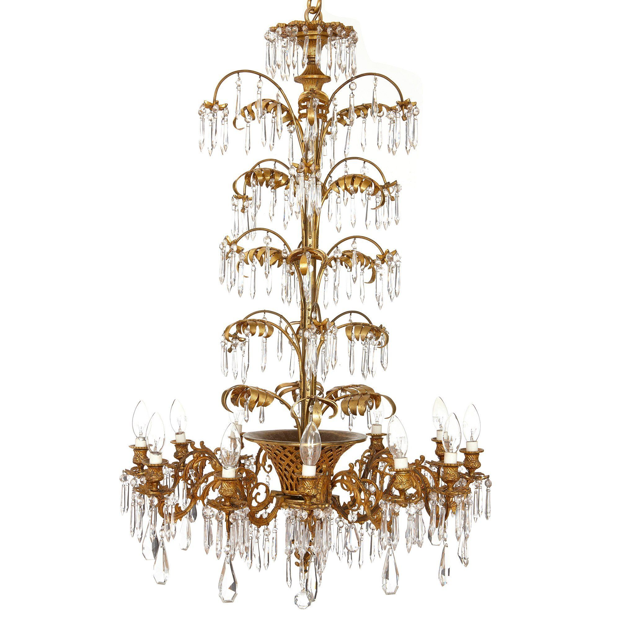Antique French Ormolu And Cut Glass Twelve Light Chandelier Mayfair Gallery