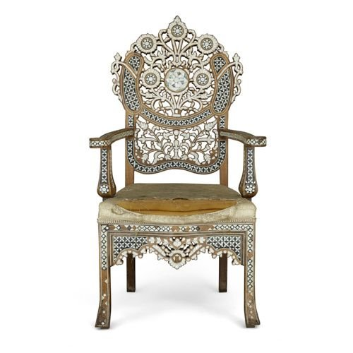 Antique Syrian mother-of-pearl and abalone inlaid armchair