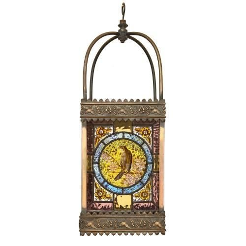 Antique gilt and stained glass hanging lantern
