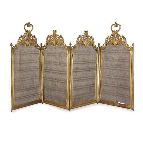 Antique French ormolu four panel folding fire screen