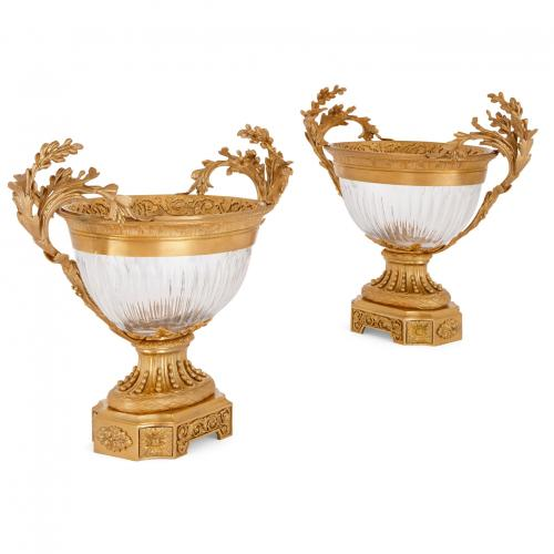 Pair of Louis XVI style ormolu and glass centrepiece vases