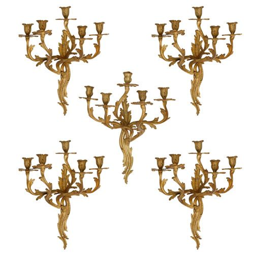 Set of five antique Rococo style ormolu wall lights