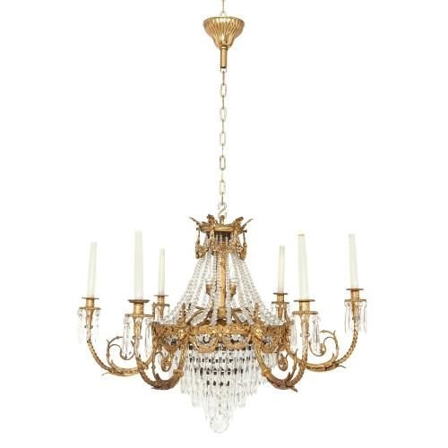 Gilt bronze and cut glass French Empire style chandelier