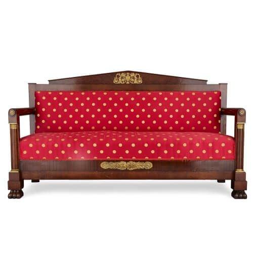 Empire style ormolu mounted mahogany canapé