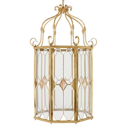 Large brass and glass Neoclassical style lantern