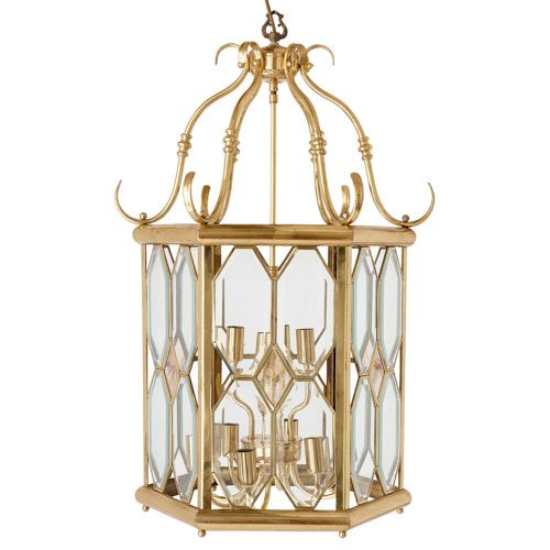 Polished brass and glass Neoclassical style lantern