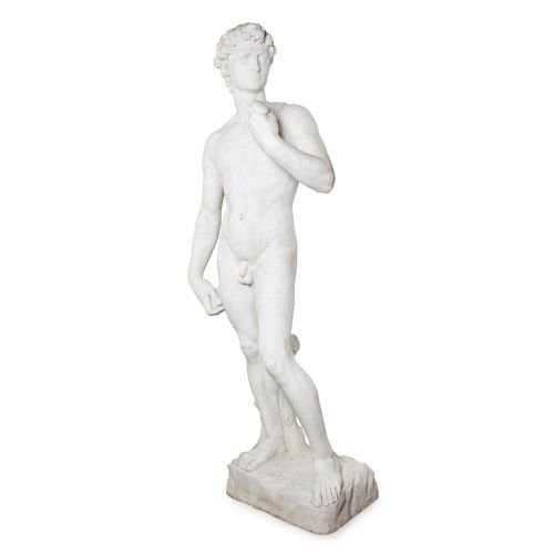 Large marble sculpture of David after Michelangelo