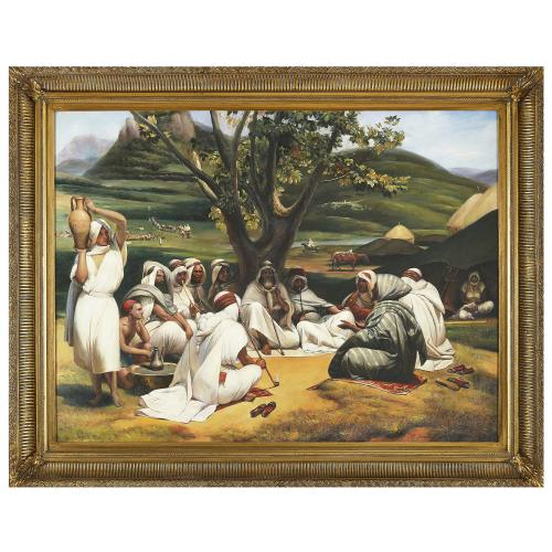 Large Orientalist oil painting of a campside scene