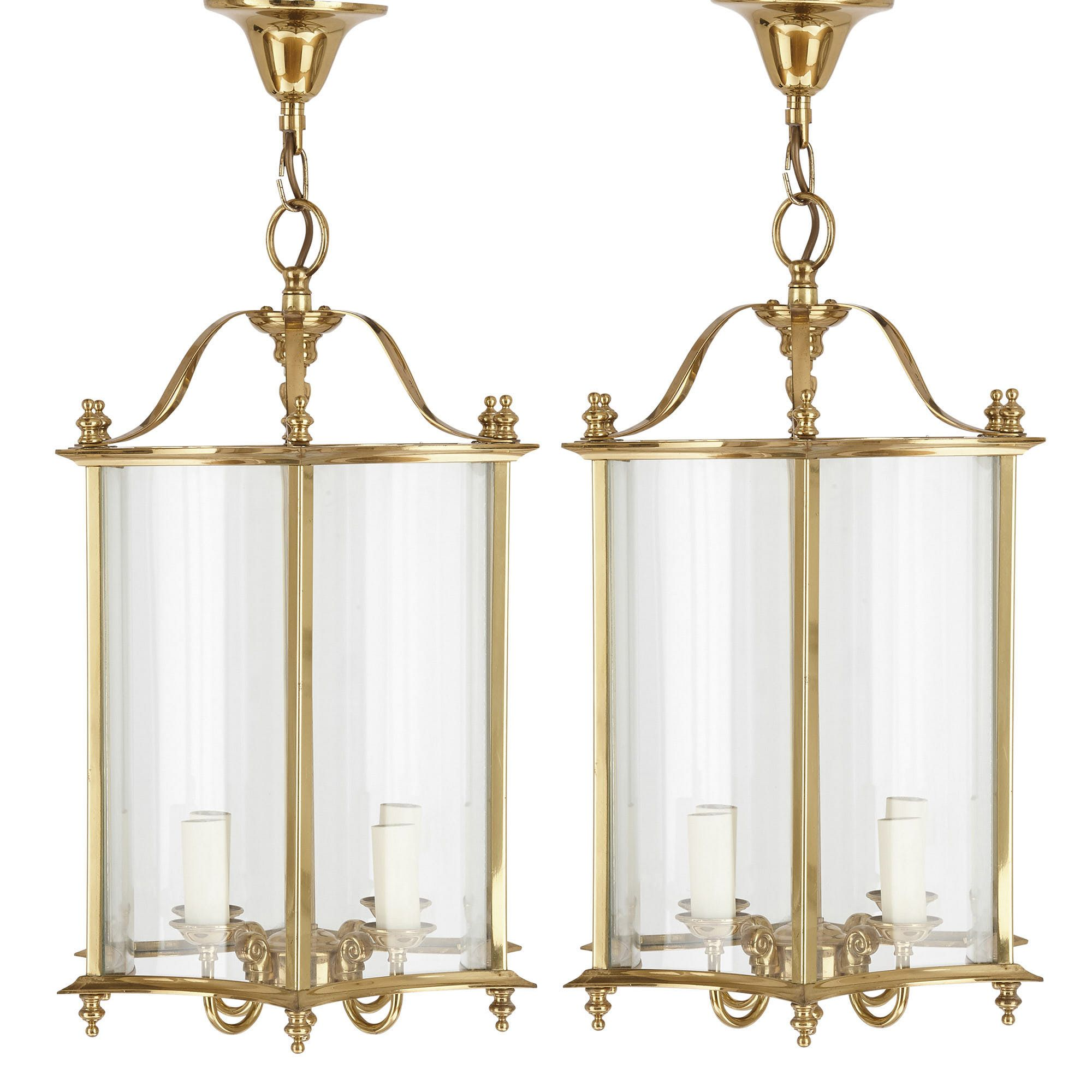 Pair Of French Brass And Glass Lanterns Mayfair Gallery