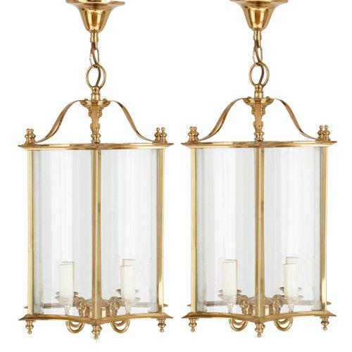 Pair of French brass and glass lanterns