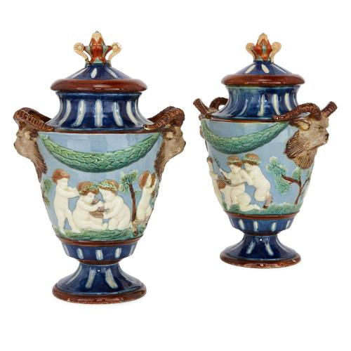 Pair of antique Wedgwood style ceramic vases