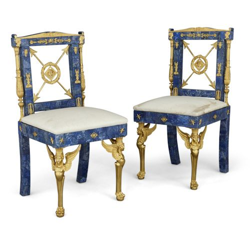 Pair of Empire style ormolu and lapis lazuli side chairs