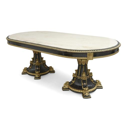 Large marble-topped gilt and ebonised wood dining table