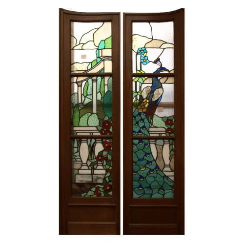 Pair of Aesthetic movement stained and leaded glass doors