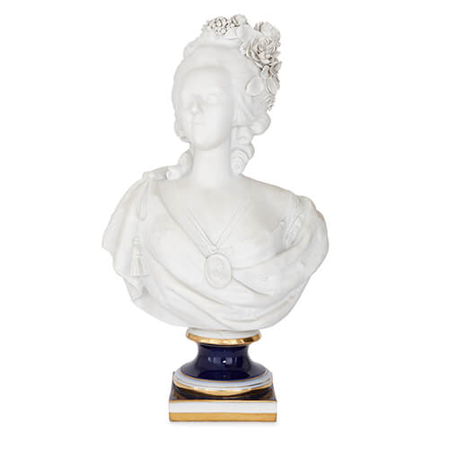 Sevres style bisque porcelain bust of Marie Antoinette