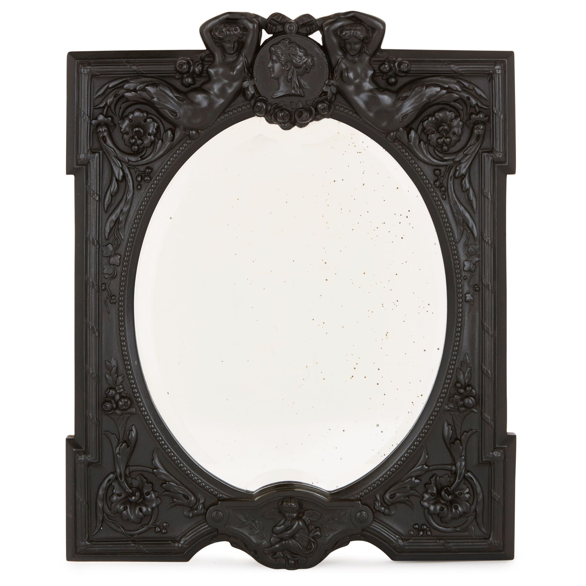 Antique Carved Ebony Wood Dressing Table Mirror Mayfair