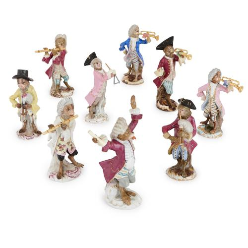 Nine piece antique Meissen porcelain monkey band orchestra