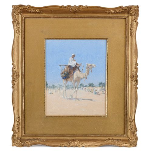 Orientalist watercolour painting of a desert scene by Mielich
