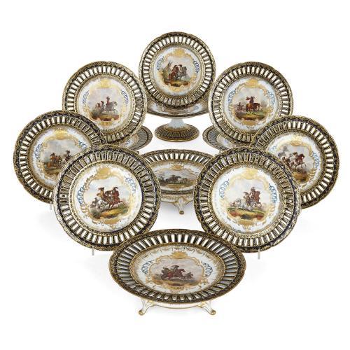 German porcelain twelve-part antique dessert service