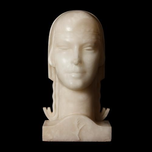 Alabaster bust of an Oriental Lady in the Art Deco style