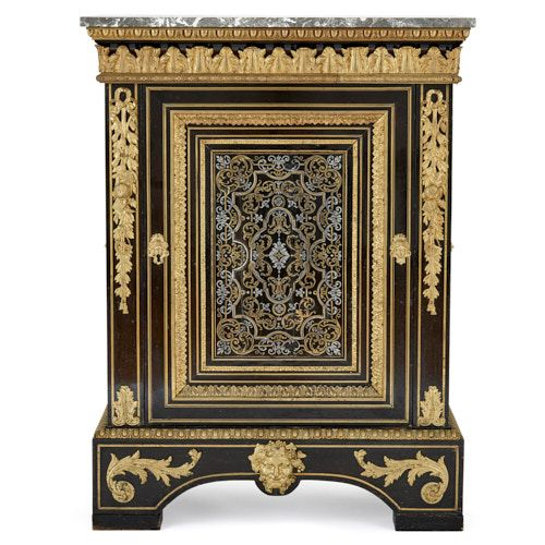 Boulle marquetry cabinet with marble top