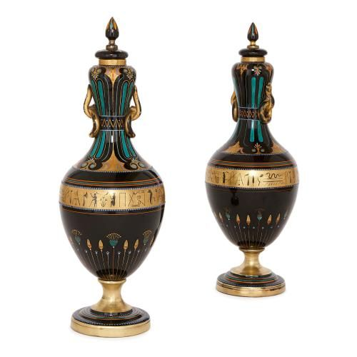 Pair of antique Egyptian Revival black Bohemian glass vases