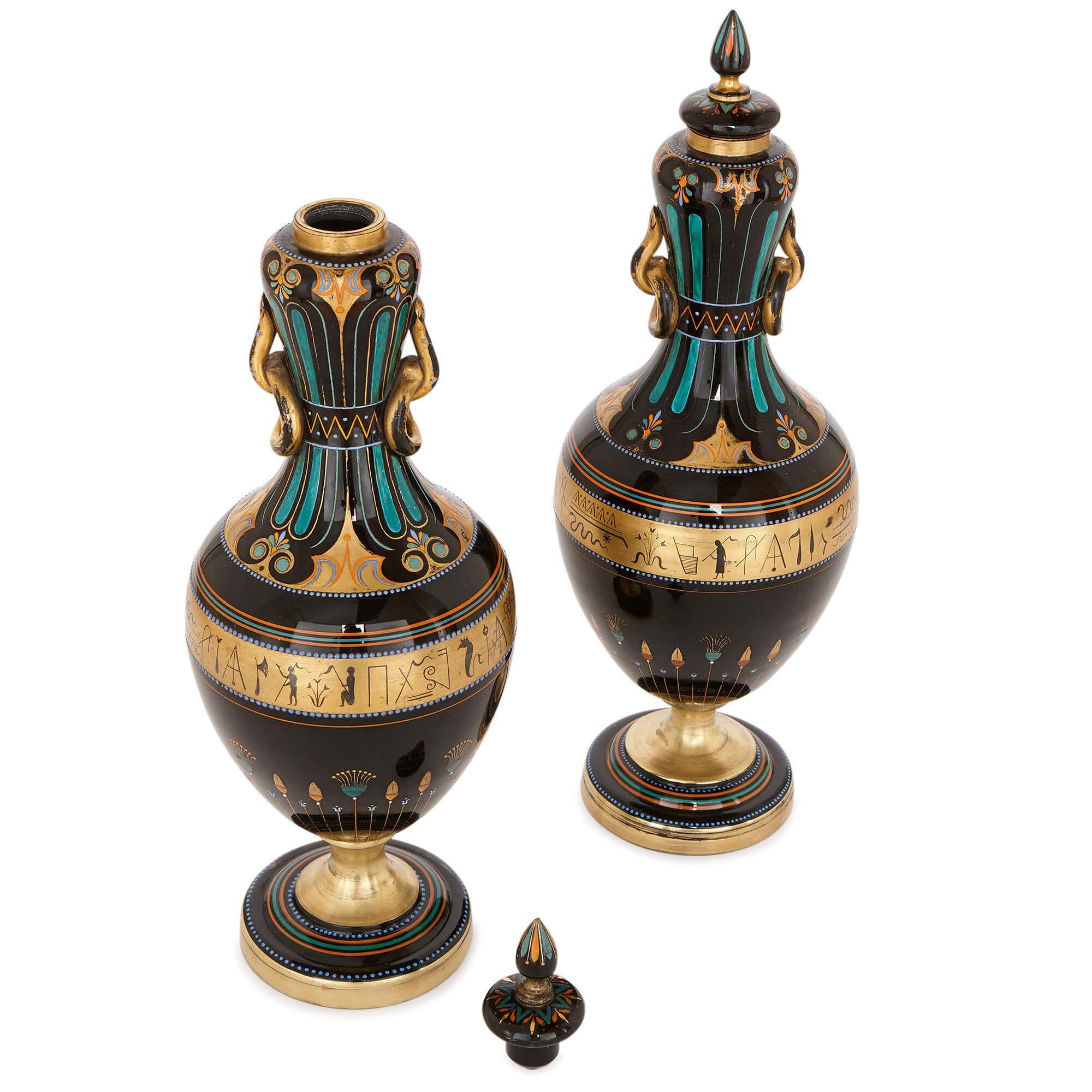 Pair Of Antique Egyptian Revival Black Bohemian Glass