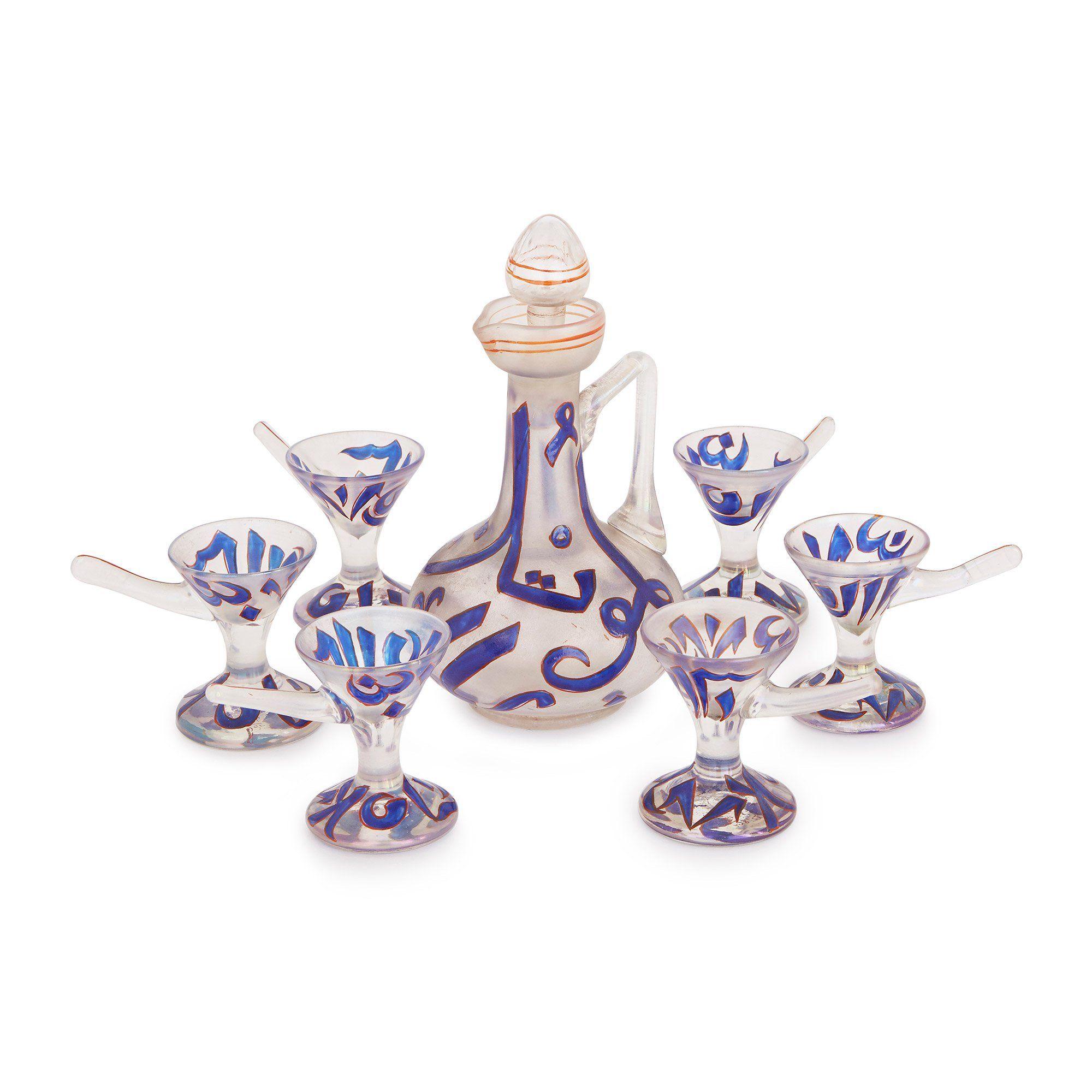 Enamelled glass antique liqueur set by Moser