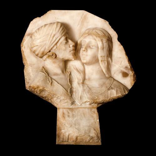 Antique Italian Orientalist style alabaster relief panel