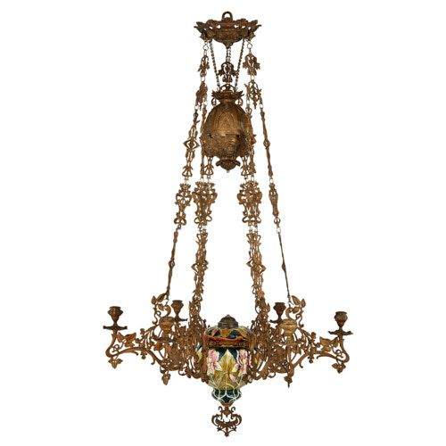 Art Nouveau gilt metal and majolica chandelier