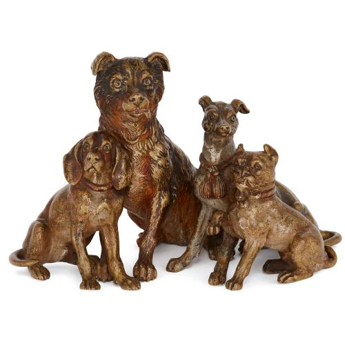 Viennese cold painted bronze dog figures attributed to Bergman