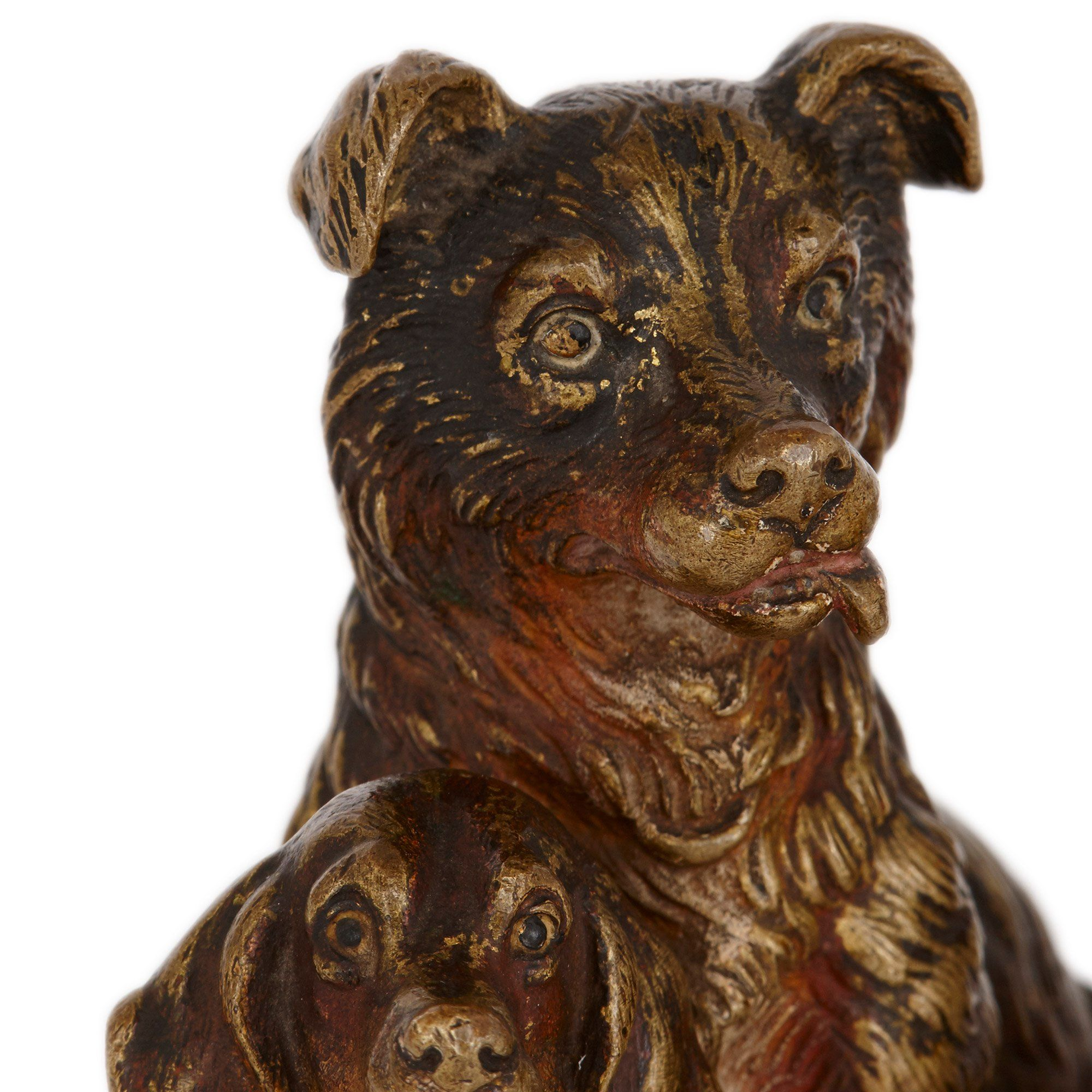 Viennese Cold Painted Bronze Dog Figures Attributed To