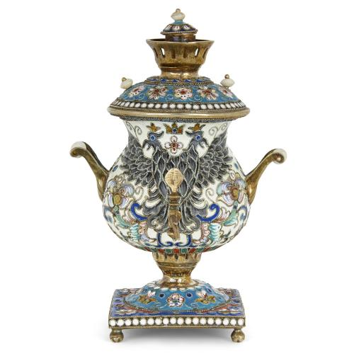 Russian silver-gilt and champlevé enamel samovar model