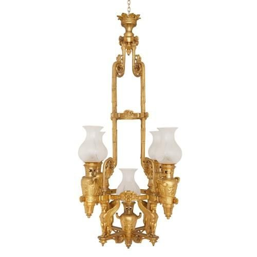 Antique French Empire style ormolu chandelier - Antique French Empire Style Ormolu Chandelier Mayfair Gallery