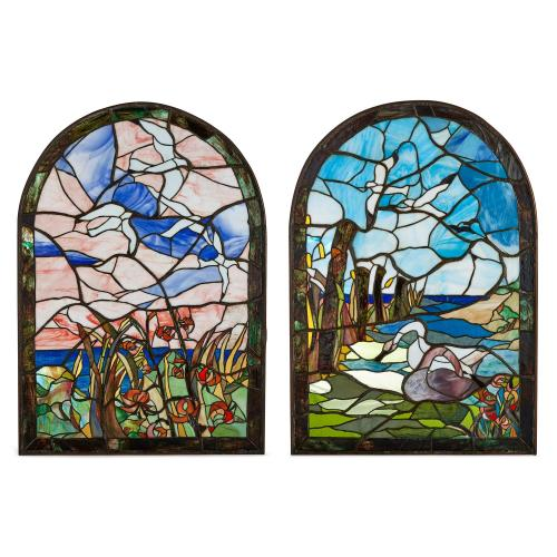 Pair of Tiffany style stained glass windows
