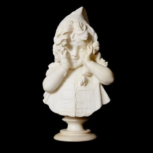 Italian antique marble bust of a young girl by Bazzanti