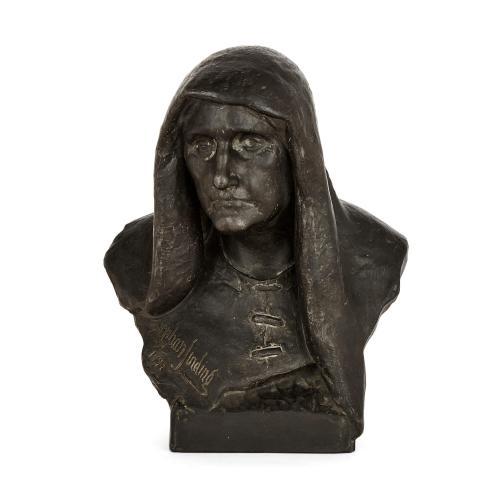 Danish terracotta sculpture bust by Stephan Abel Sinding