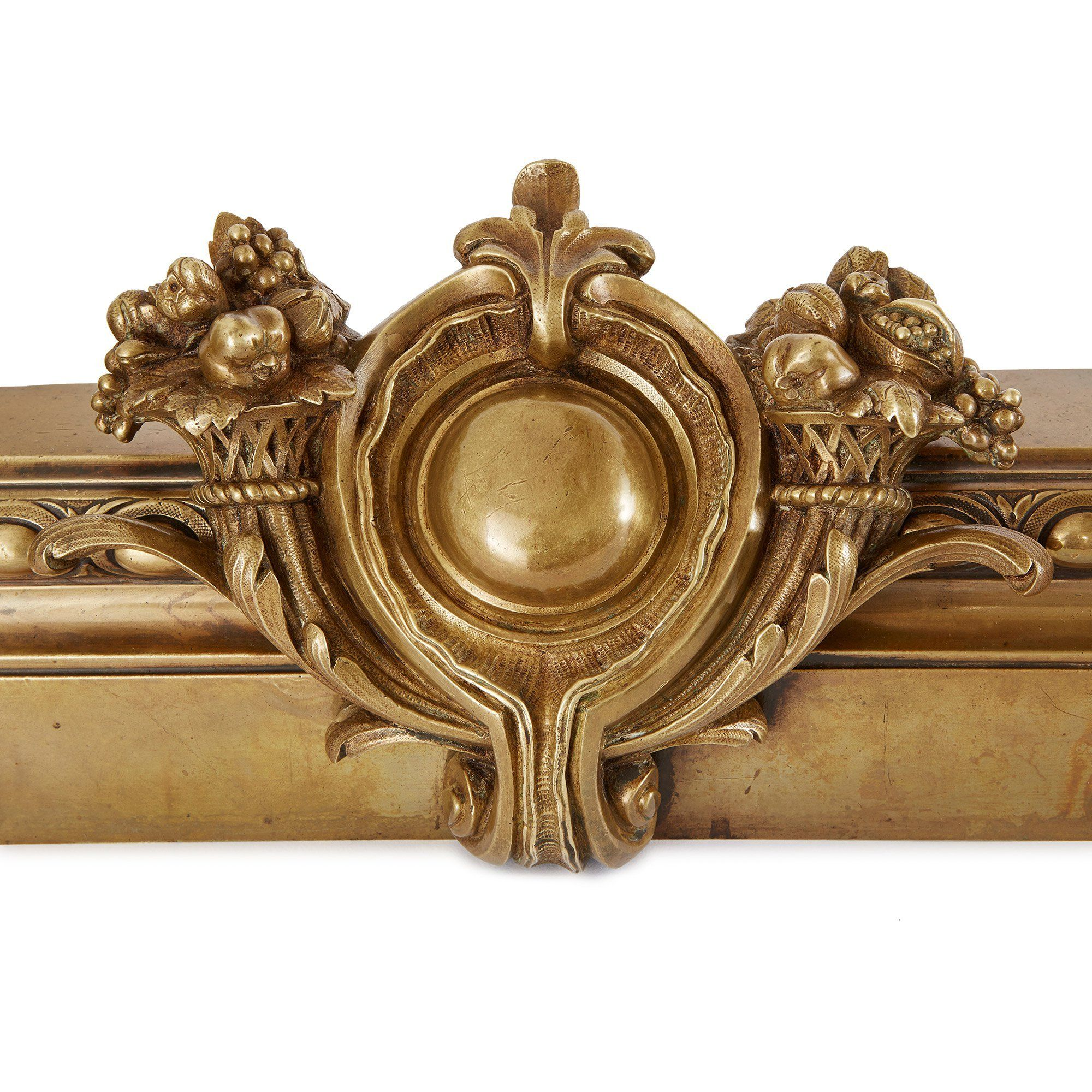 Empire Style Gilt Bronze Antique French Fireplace Fender Mayfair