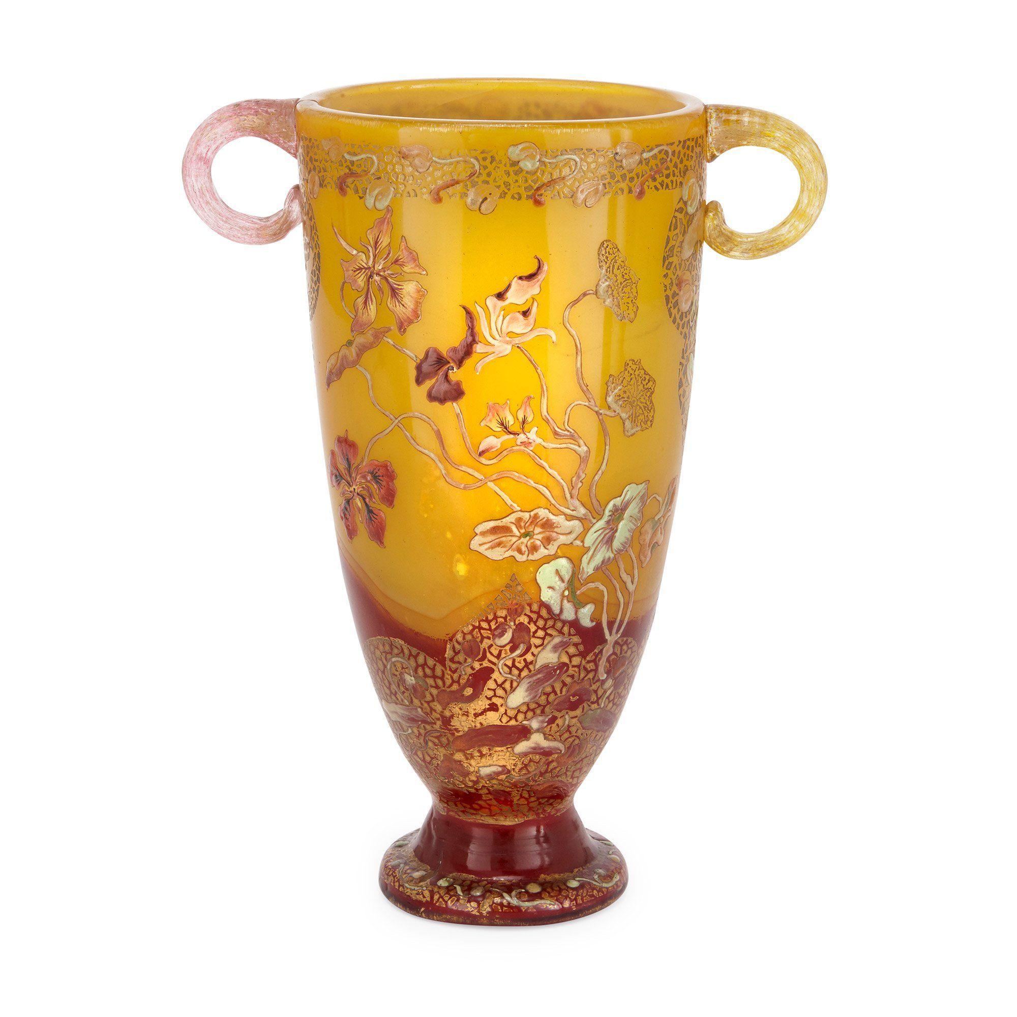 Art Nouveau period twin handled glass vase by Emile Gallé   Mayfair ...